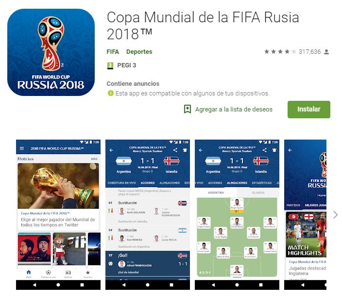 Aplicación oficial FIFA Mundial Rusia