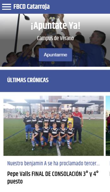 inscripciones en una app oficial de fútbol
